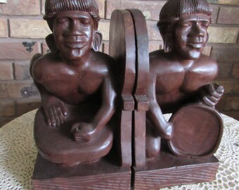 Sale-Wood carved Tribal Bookends.