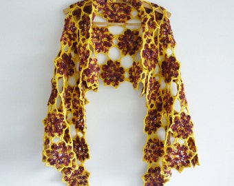 Bohemian shawl - boho wrap - a riot of flowers - completely unique -  vibrant colors - natural materials - organic - statement accessory
