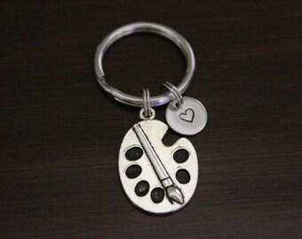 Paint Palette Key Ring/ Keychain / Zipper Pull - Art Teacher Keychain - Painter Keychain - Artist Keychain - Artist Gift - I/B/H