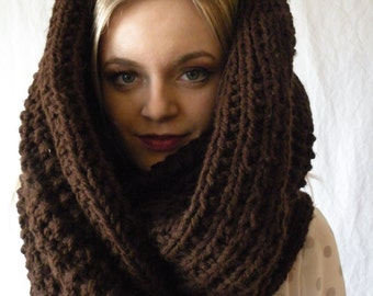Oversized Long Chunky Knit Infinity Scarf Espresso Brown or Choose your Color Womens Accessory