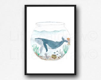 Whale In A Fish Bowl Watercolor Painting Print Whale Print Whale Art Nautical Print Whales Bathroom Wall Decor Wall Art Beach Art Unframed