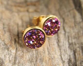 Tiny Druzy Earrings Plum Druzy Studs Titanium Drusy Quartz Gold Vermeil Bezel Set