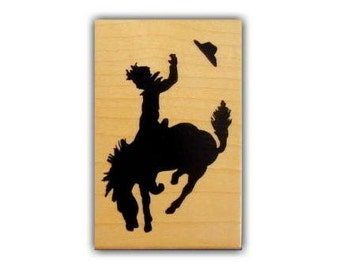 BUCKING BRONCO large, mounted rubber stamp, rodeo, cowboy, western, horse, silhouette, Sweet Grass Stamps No.1
