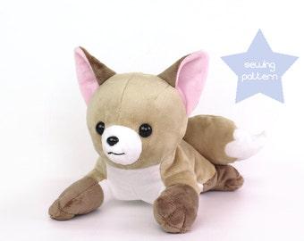 "PDF sewing pattern - Fox stuffed animal - laying dog wolf Vulpix Pokemon plushie - easy DIY softie plush soft toy 15"" large laying"