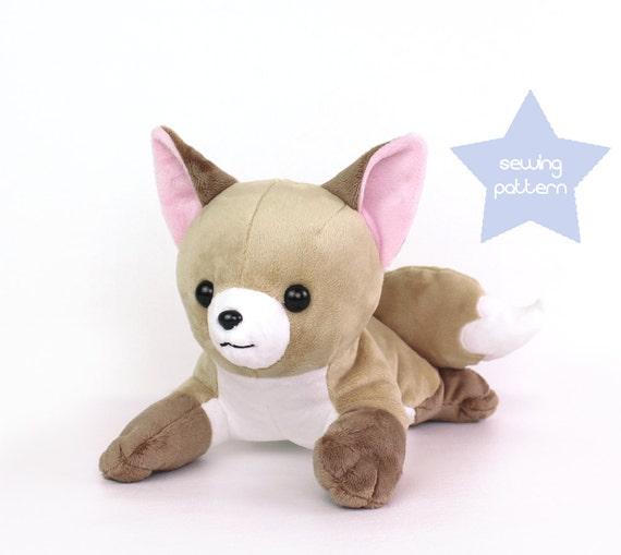 pdf sewing pattern fox stuffed animal laying dog wolf. Black Bedroom Furniture Sets. Home Design Ideas