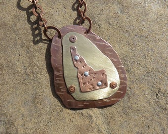 C-53 Idaho #2 Mixed Metal Copper Brass Pendant Necklace, Coppersmith Necklace, Metalsmith Necklace, Mixed Metal Necklace