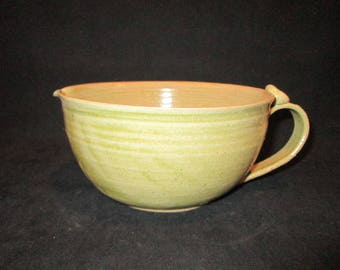 SALE  mixing bowl with handle in light green, stoneware pottery, dishwasher safe