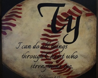 "Personalized Sport Baseball Sign with Name & Scripture (Phil. 4:13) - 14"" x 14"" SignsbyDenise"