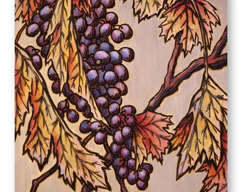 Fall Wine Grapes Painting and Wood Burning - Print