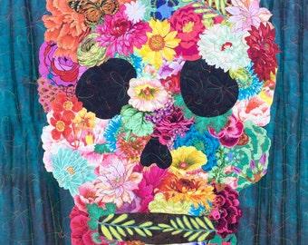 Sugar skull quilt pattern/skull art quilt pattern
