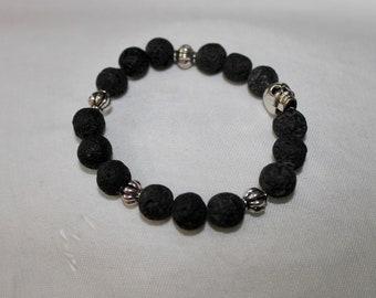 Lava Stone and Skull Bracelet