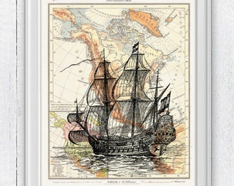 Old Ship printed on Vintage map form America- Mixed media Poster - sea life print- Vintage ship in a vintage German  NTC038