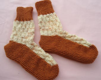 Hand knitted bed socks in Rust and Cream Fleck