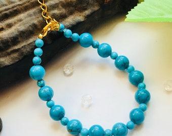 Turquoise Bracelet, Turquoise Bead Bracelet, Turquoise Beaded Bracelet, Turquoise Marbled Bracelet, Blue Bead Bracelet, Blue Bracelet