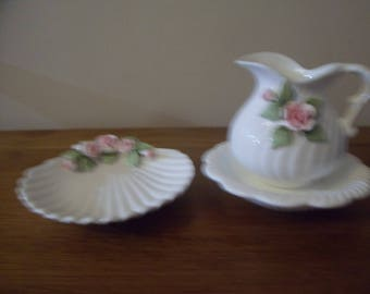 Vintage St Michael Rose Scallop Soap Dish and Jug and Dish Set
