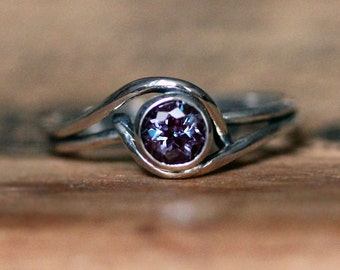 Alexandrite ring, white gold alexandrite engagement ring, gemstone engagement ring, organic engagement ring bezel ring mini pirouette custom