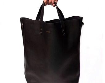 Vintage leather Tote Bag Large - Black