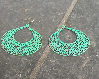 Emerald Green Patina  Lace Metal Filigree Flower Earrings  Boho Jewelry  Filigree Earrings  Patina Jewelry Very Large Hoops