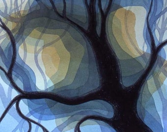 Original watercolor, Nocturne, 22 x 30