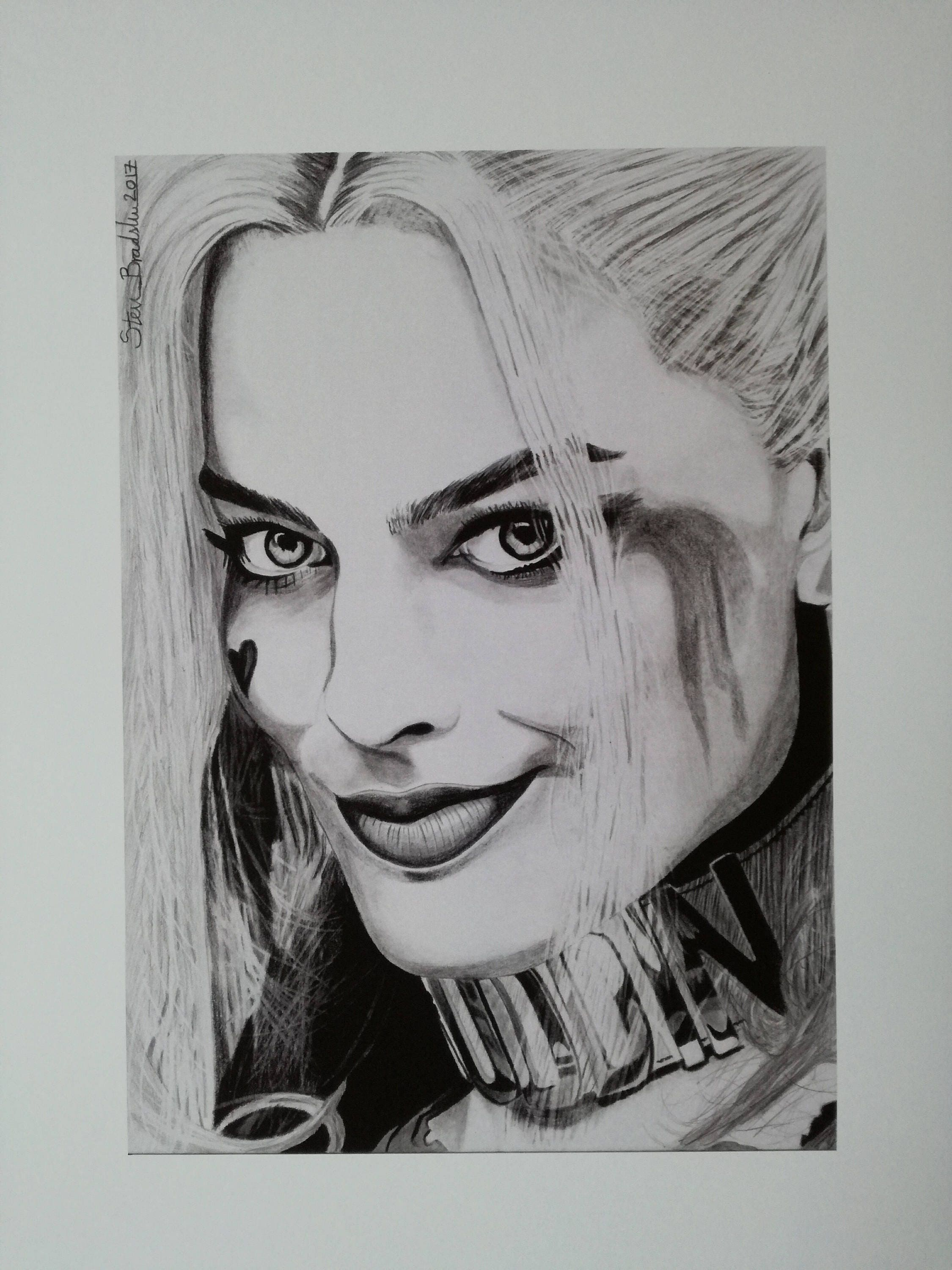 Harley Quinn Drawing: Harley Quinn Suicide Squad Print Of Original Drawing