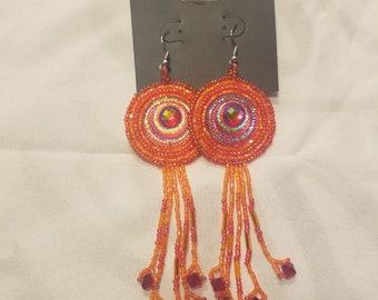 Handmade red an orange dangle earrings