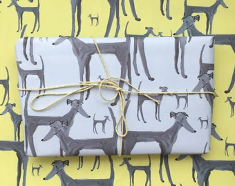 Dog wrapping paper, greyhound wrapping paper, dog gift wrap, dog paper, dog gift, dog lover, greyhound gift, dog wrap, made by harriet, dog