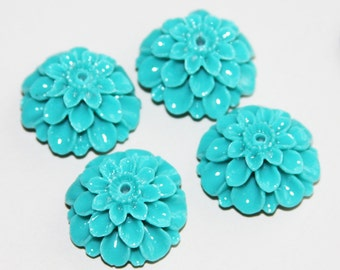 6 pcs of Synthetic Coral flower beads 24x13mm Turquoise green