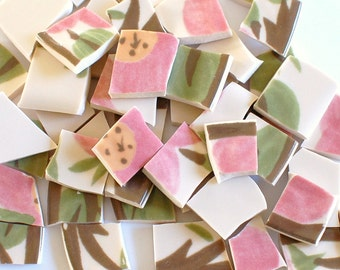 Mosaic Tile - Broken China - Rose Pink Flowers and Green Leaves - Set of 100