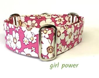 Pink Daisy  Martingale Dog Collar, Greyhound Collar, whippet Collar, Italian Greyhound Collar, large Breed, sighthound, lurcher,saluki