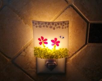 White Night Light, Decorative Red Flowers, Art Glass