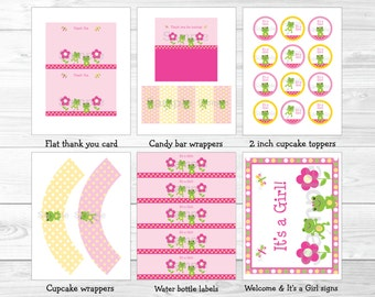 Pink Frog Baby Shower Party Package / Frog Baby Shower / Frog Baby Shower Decorations / Pink & Yellow / INSTANT DOWNLOAD A341