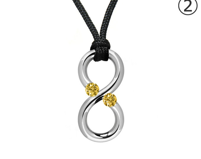 Taormina Modern Yellow Topaz Infinity Cord Necklace Tension Set Steel Stainless