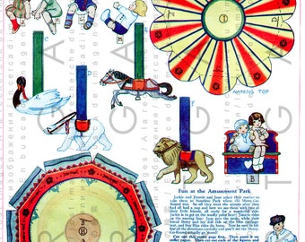 Art Deco CAROUSEL Vintage Printable Paper Toy Merry-Go-Round. Vintage Die Cut Paper Dolls Digital Download.
