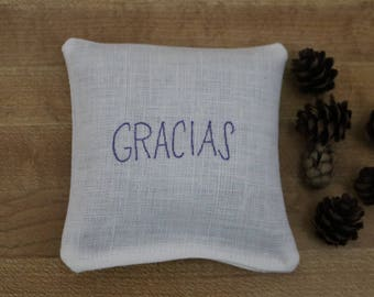 GRACIAS balsam fir or lavender linen sachet hand stamped in luxurious fabric ink, thank you in Spanish, Gracias gift, thank you gift,