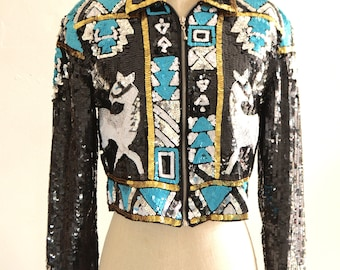Hipster Glam 80s Stone River Western Sequin Horses Beaded Jacket Cropped Zipper Front Top Spring Summer 2018
