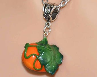 Pumpkin Patch Necklace - Hand Sculpted Polymer Clay Pendant.  To celebrate Halloween/Samhain, or Thanksgiving.