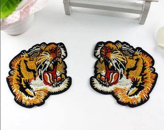 1 Pair ,7*7.5 cm ,Embroidered Tiger Patches,back patch Small tiger Patch Tiger Clothes Patches Embroidery Animal iron on patches