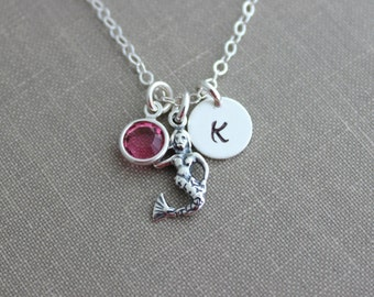 Sterling Silver Mermaid Charm Necklace, Personalized Initial letter disc, and Swarovski Crystal Birthstone, Customized Beach Jewelry
