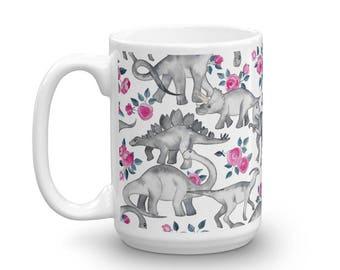 Floral Dino | Dinosaurs, Flowers, Girly | Mug | 15oz