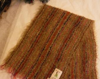 """Vintage Bloomingdales Royal Scot Tweed & Co Mohair Wool Scarf Muffler  52""""x8"""" Browns with Pink Purple Red"""