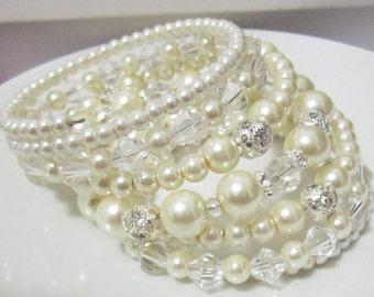 Vintage Bridal Bracelet Great Gatsby Pearl and Crystal Rhinestone Bracelet Chunky Pearl Bracelet Multi Strand Wedding Bracelet Ivory Pearls