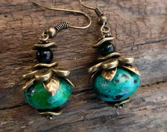 Earrings with chrysocolla bead and bronze flower