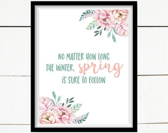 Spring Floral Digital Print, Spring Printable, Farmhouse Printable, Home Decor, Printable Home Decor, Farmhouse Decor, Pink, Mint, Flowers