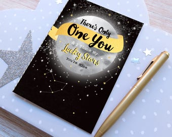 Only one you moon card, valentines day card, anniversary card, male card, celebrating love card, note card, blank card, moon with stars