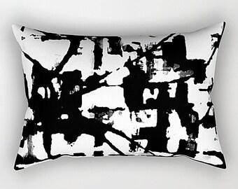 Lumbar Pillow, Black And White, Modern Pillow, Art Pillow, Throw Pillow, Sofa Pillow, White Throw Pillow, Black Throw Pillow, Rectangular