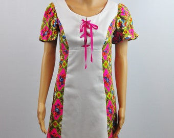 Vintage 1970's Print Shift Midi  Summer Day Dress