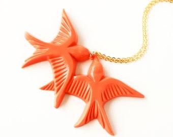 Tangerine orange vintage plastic swallow love birds gold necklace