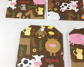 Brown Farm Animal Tags - set of 8
