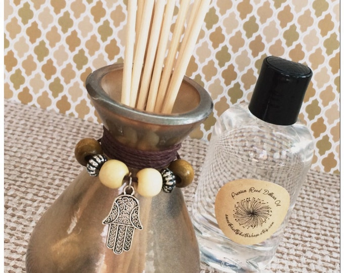 Silver Pearl Glass Reed Diffuser Gift Set-Choose Your Scent & Charm/Hamsa/Ohm/Yoga/Meditation