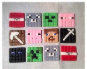 Fondant Minecraft Cupcake Toppers 1 Dozen
